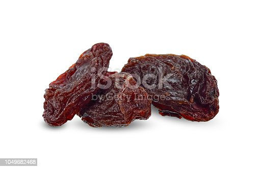 Dried raisins isolated on white clipping path.