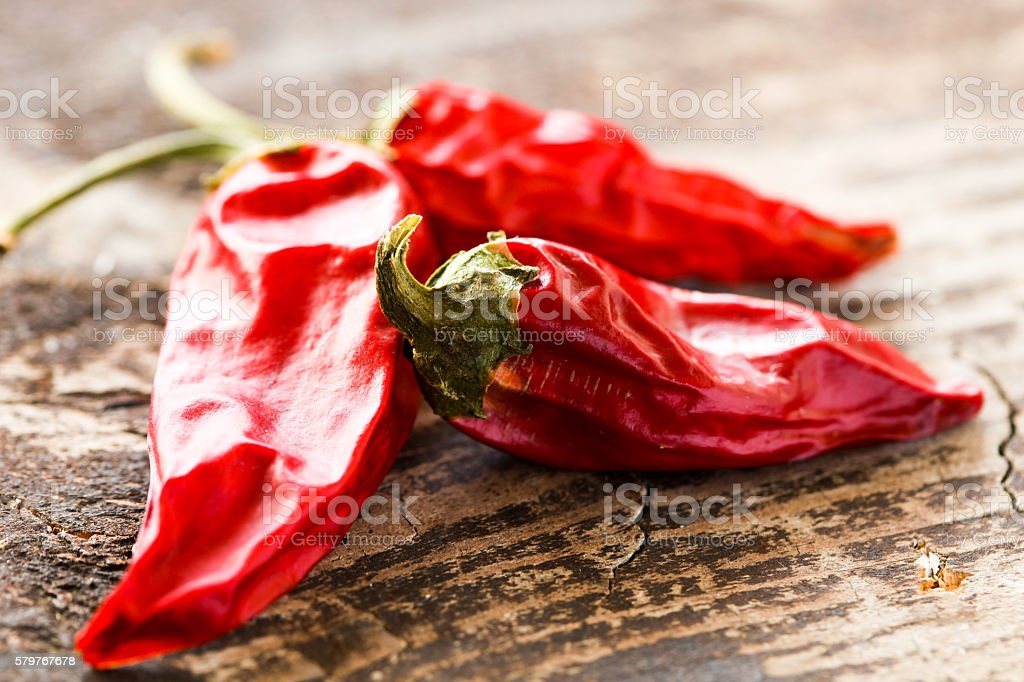 Dried red chilly pepper stock photo