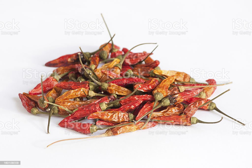 Dried red hot chillies stock photo