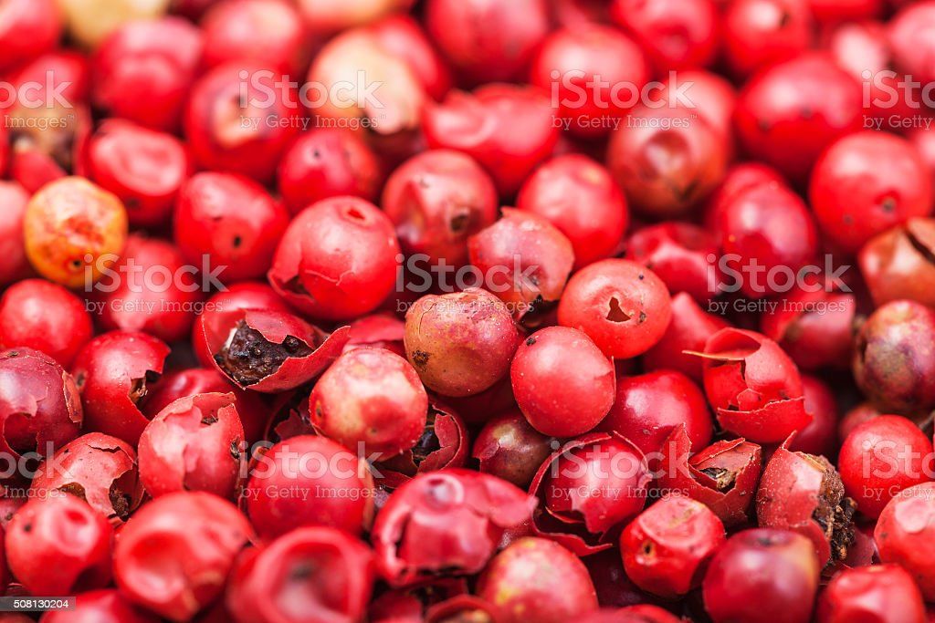dried red pepper peppercorns close up stock photo