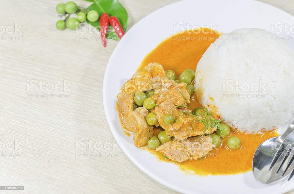 Dried red pork coconut curry (Panaeng) royalty-free stock photo