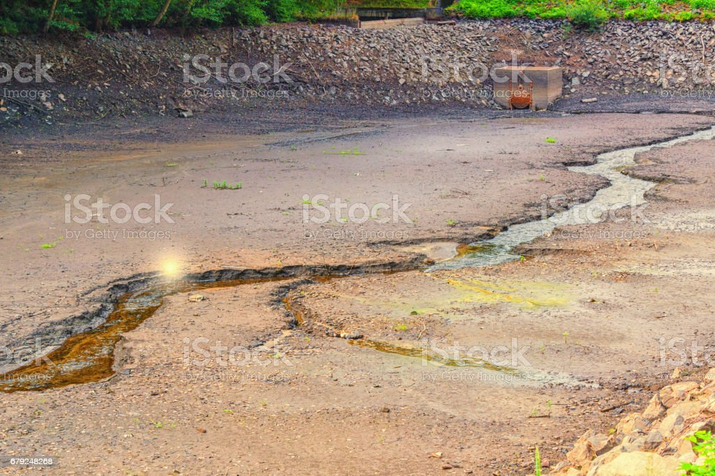 Dried river bed stock photo