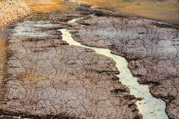 Dried river bed Dried river bed in the desert riverbed stock pictures, royalty-free photos & images