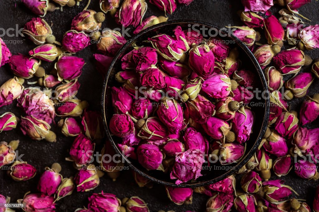 Dried rose buds stock photo