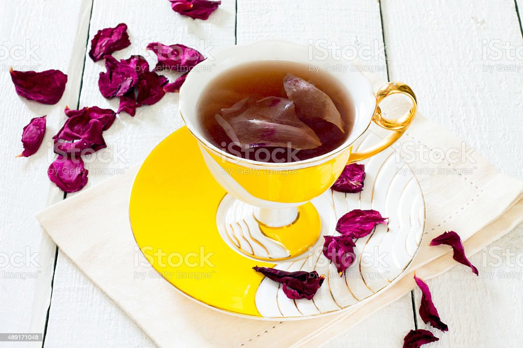 Dried Roses And A Cup Of Tea Rose Stock Photo & More Pictures of ...