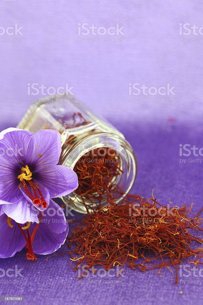 Dried saffron spice and flower stock photo