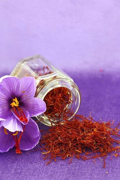 Dried saffron spice and flower Dried saffron spice and Saffron flower saffron stock pictures, royalty-free photos & images