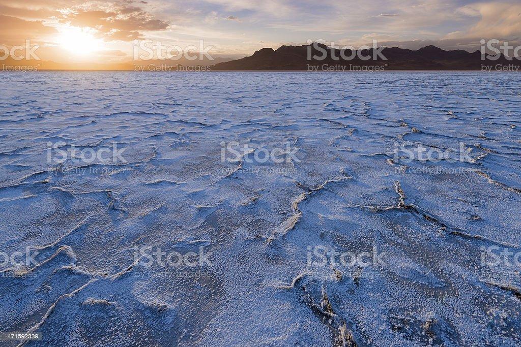 Dried salt flats stock photo