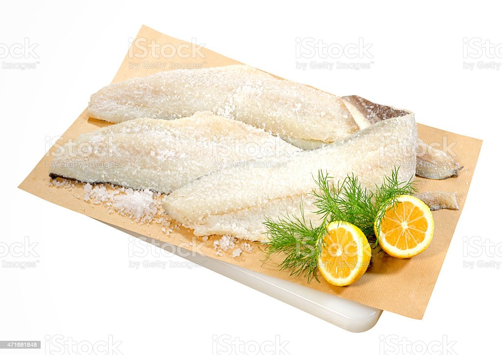 Bacalao desecado salado - foto de stock