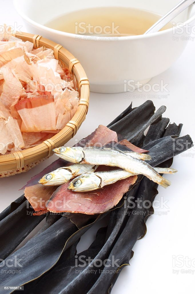 Dried sardines, kelp and dried bonito, ingredients of Japanese broth stock photo