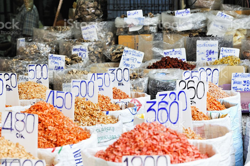 Dried Seafood for Sale on Bangkok Chinatown Market stock photo