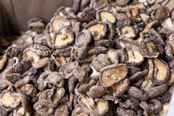 Dried shiitake mushrooms. Selective focus. stock photo