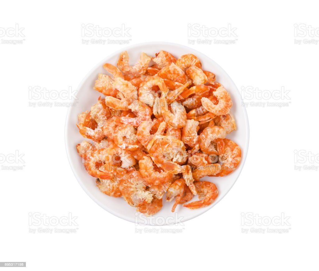 dried shrimp in white bowl isolated on white background stock photo