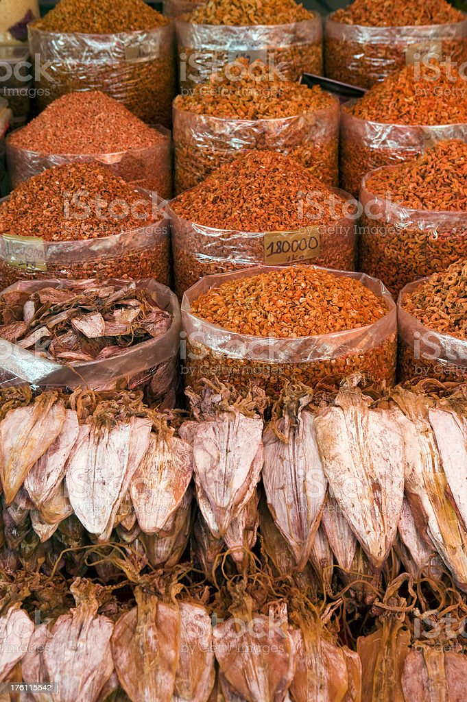 dried shrimp squid fish market preserved food saigon vietnam royalty-free stock photo