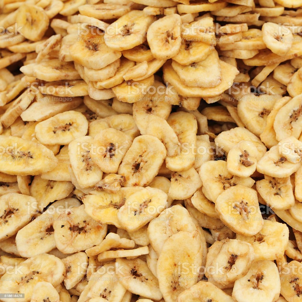dried sliced banana as background stock photo