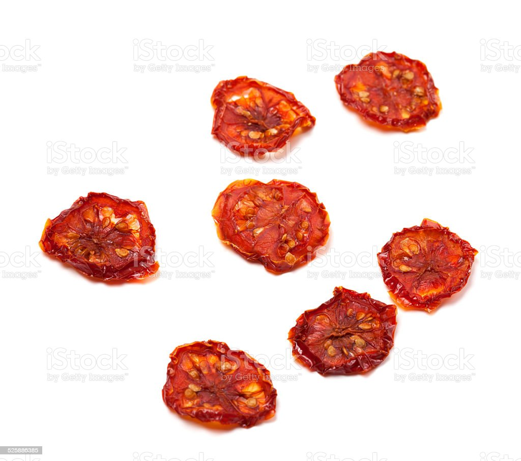 Dried slices of tomato. Selective focus stock photo