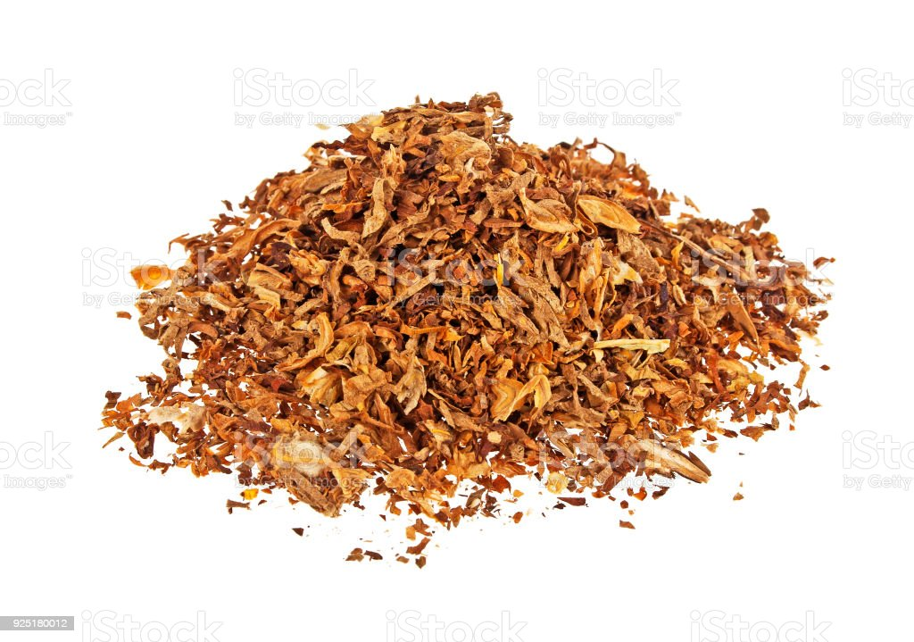 Dried smoking tobacco isolated on a white background stock photo
