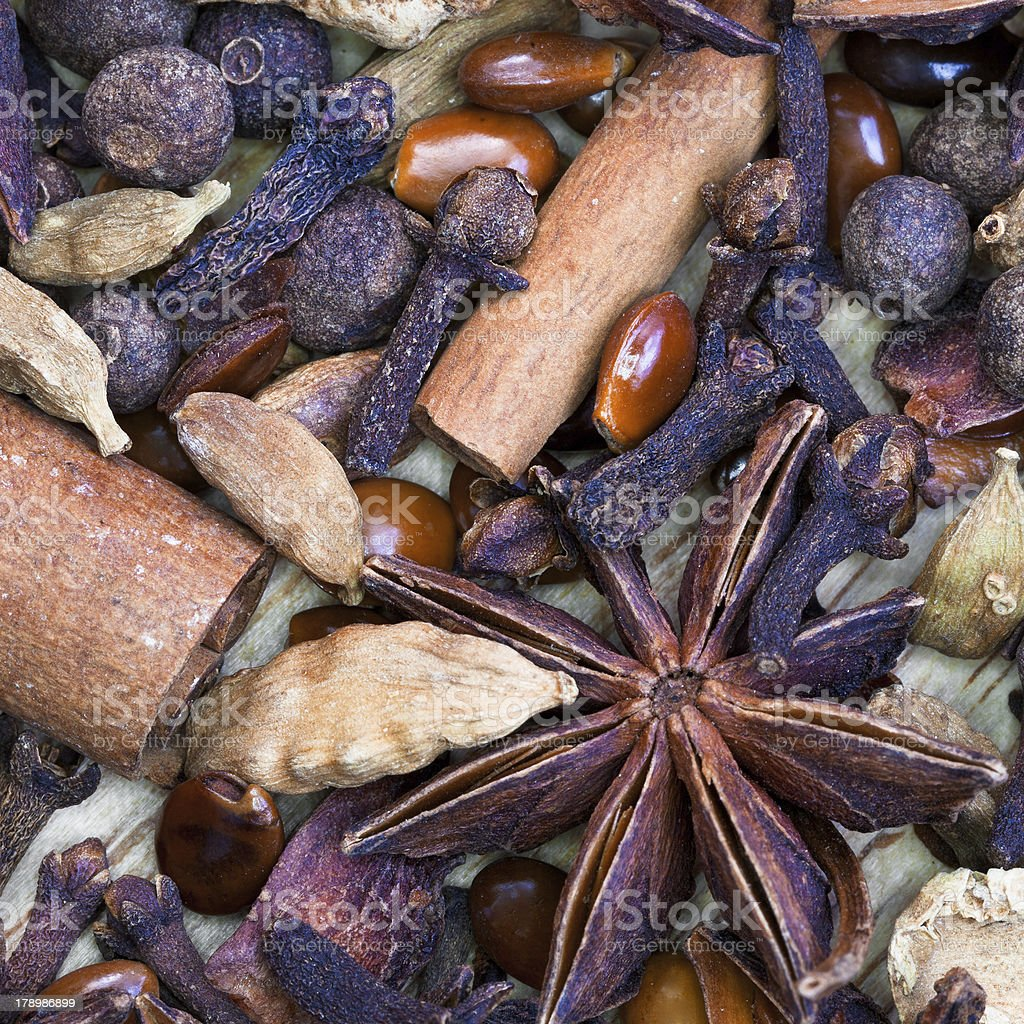 dried spices for gluhwein royalty-free stock photo
