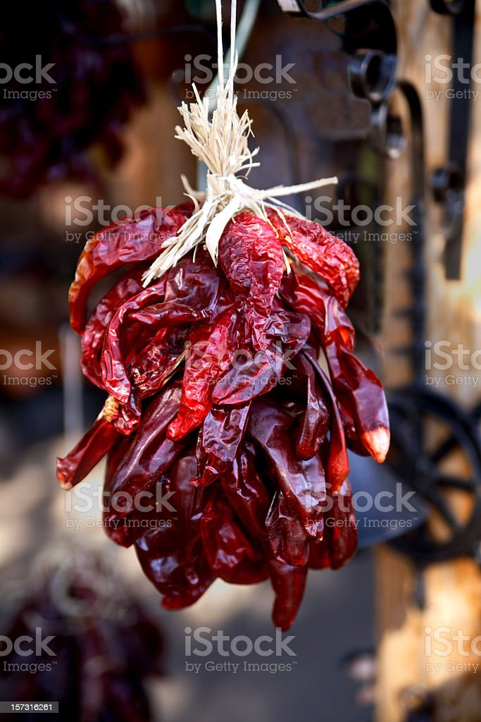 Dried spicy red peppers stock photo