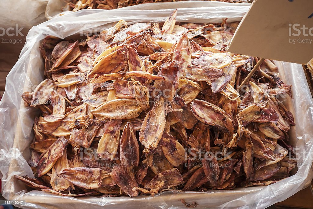 Dried Squid in Bangkok market royalty-free stock photo