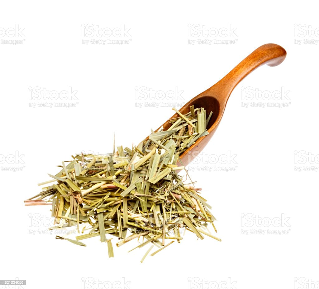 Dried Sweetgrass Hierochloe on the wooden spoon stock photo