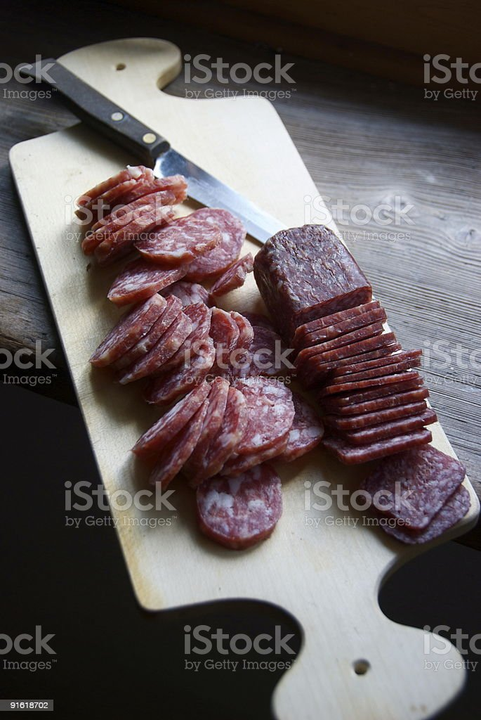 Dried Swiss sausages royalty-free stock photo