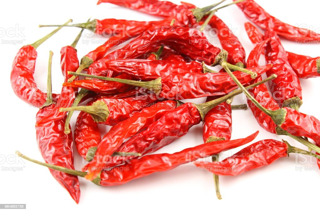 dried thai chili peppers isolated on a white background royalty-free stock photo
