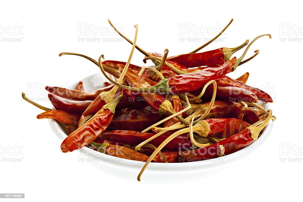 Dried Thai Hot Peppers stock photo