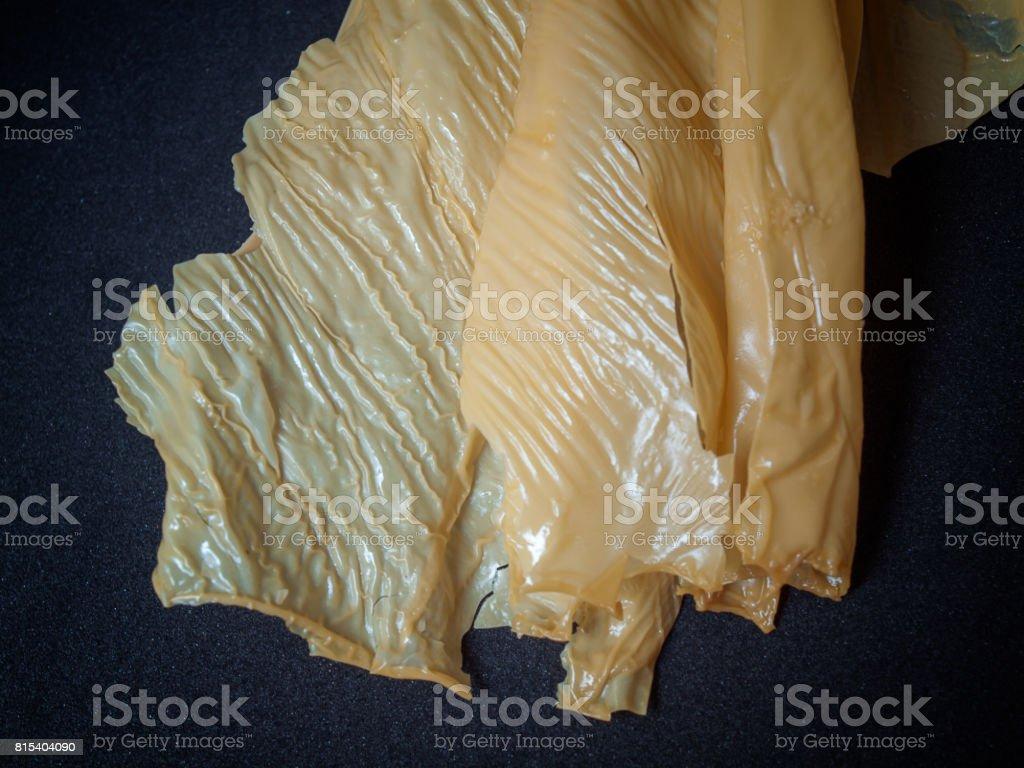 (Close up) Dried Tofu Skin. stock photo