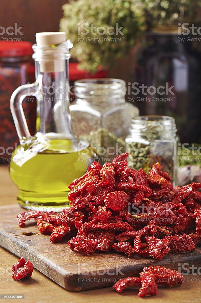 Dried tomato slices stock photo