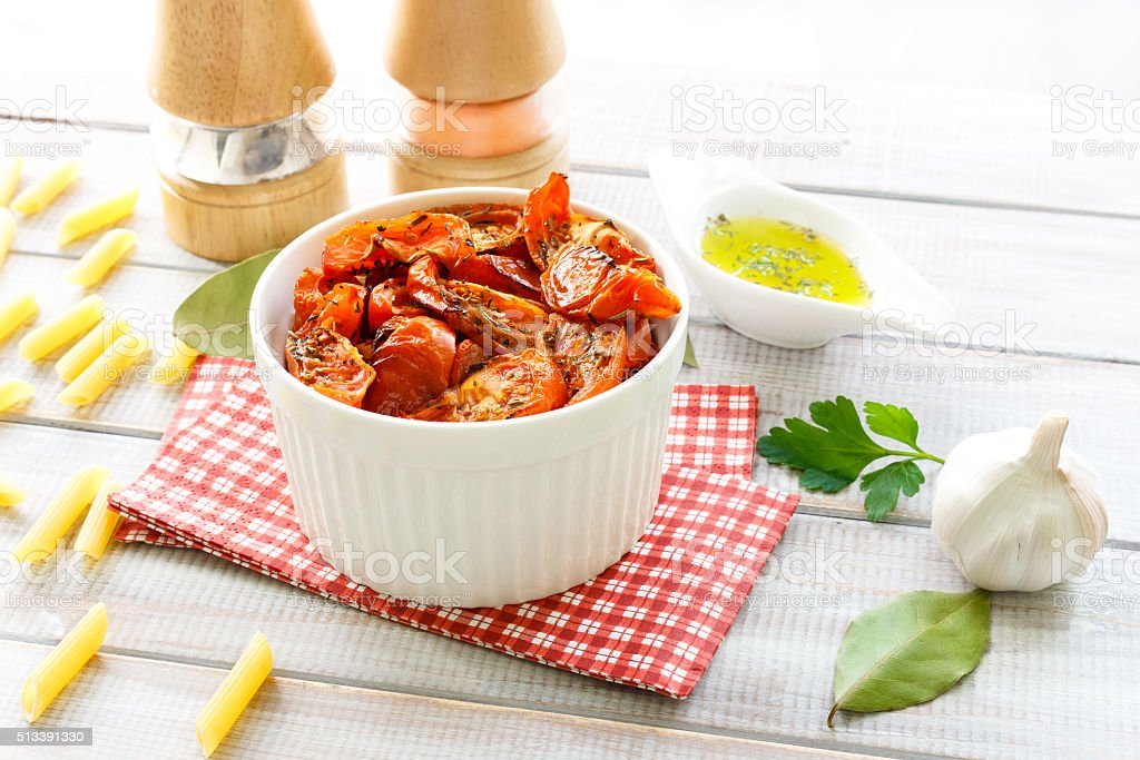 dried tomatoes and olive oil stock photo