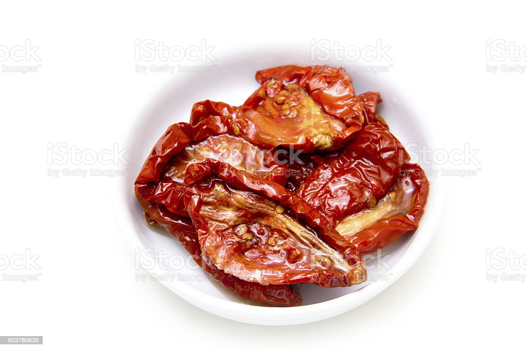 Dried tomatoes viewed from above stock photo