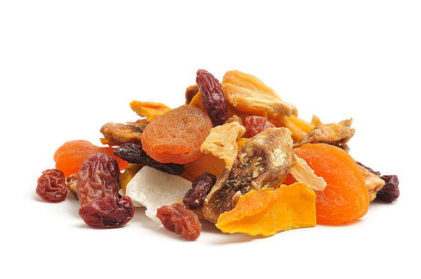 dried tropical fruit mix - dried fruit stock photos and pictures