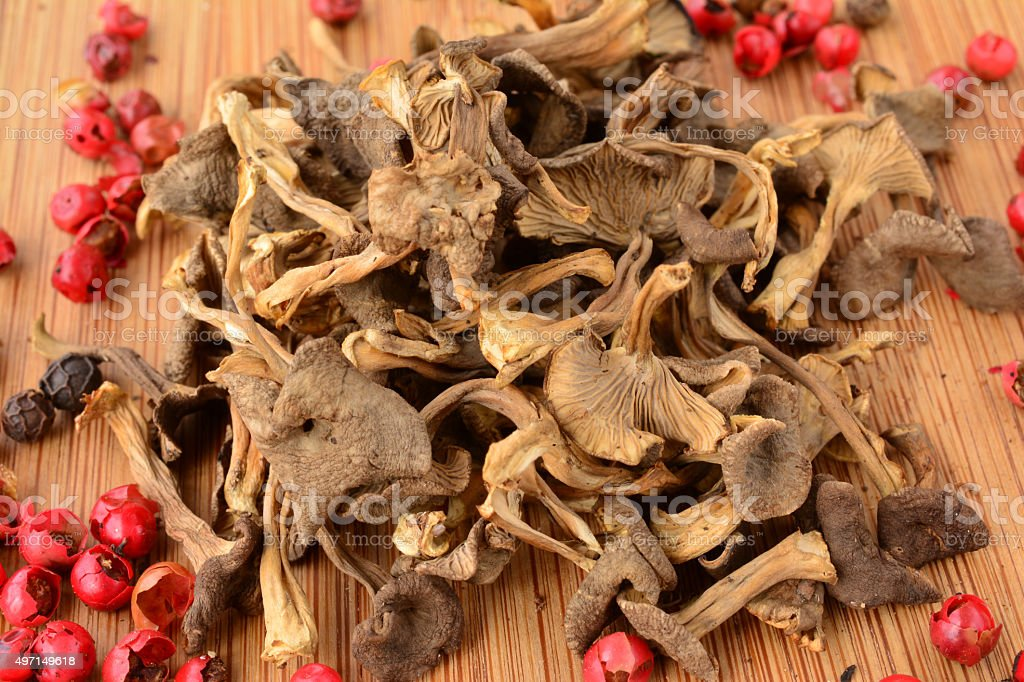 Dried Trumpet Chanterelle stock photo