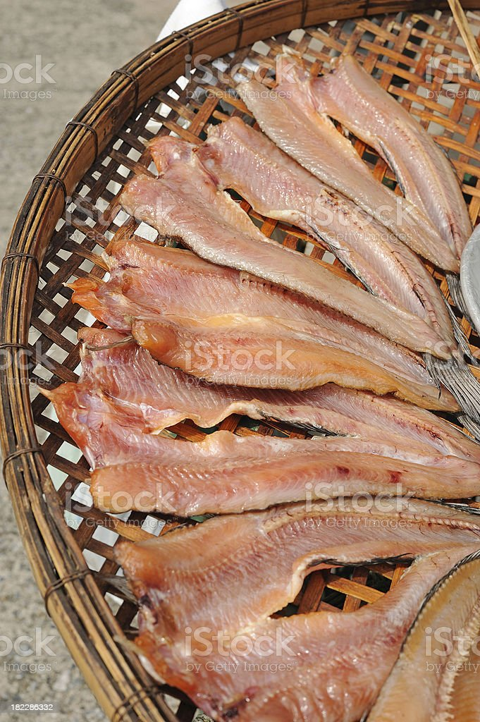 dried under the sun salty fish gourmet royalty-free stock photo