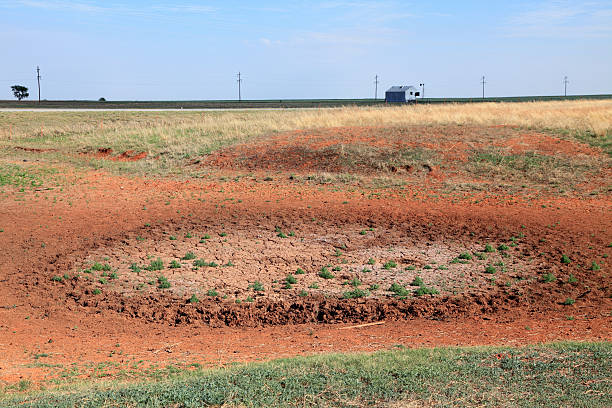 Dried Up Cattle Pond Caused by Drought stock photo