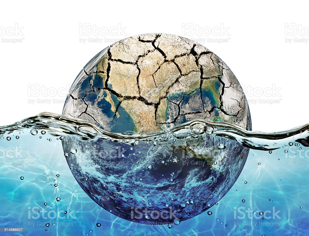 Dried up planet immersed in the waters of world ocean stock photo