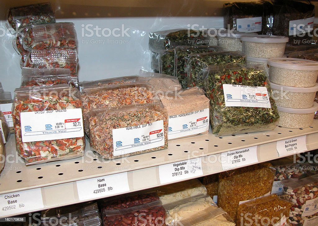 Dried Vegetable and Soup Mixes on Grocery Store Shelf royalty-free stock photo