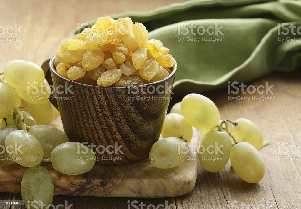 dried white grapes (raisins) stock photo