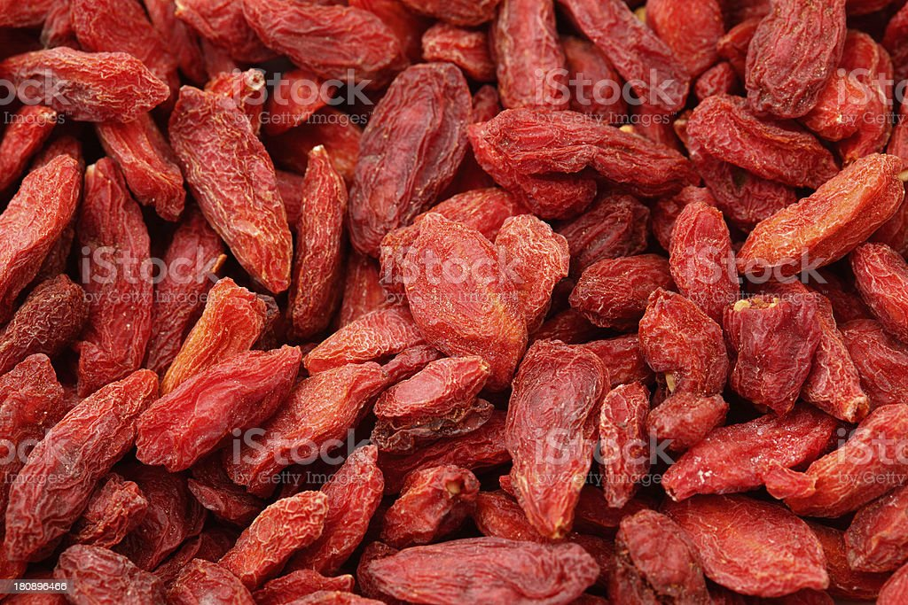 Dried wolfberry fruit close up royalty-free stock photo