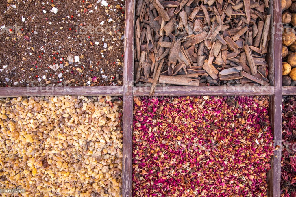 driend frankincense (boswellia serrata) and other spices being sold at a market stock photo