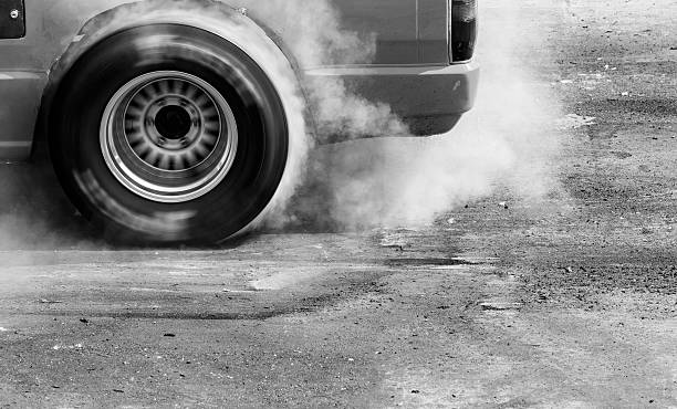 Drift, Burn tire stock photo