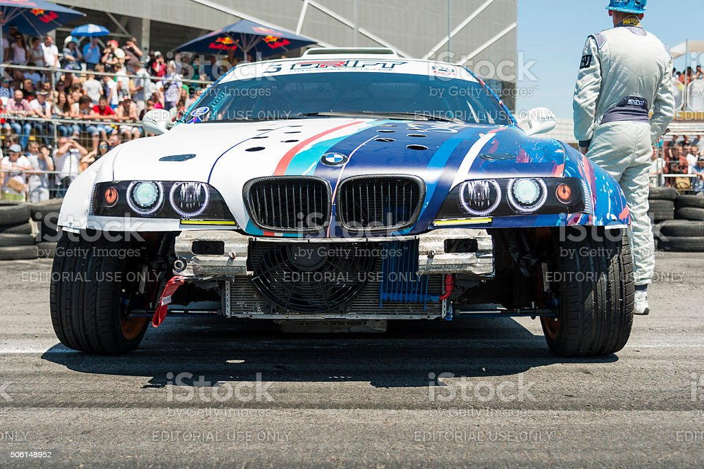 Drift car brand BMW parked in a park-service before the start of the...
