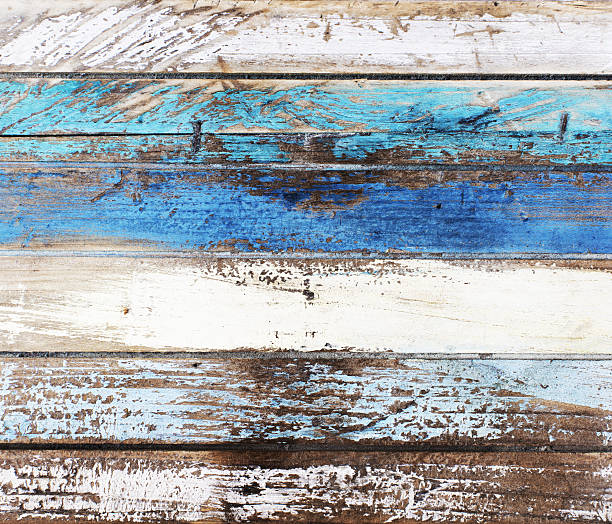 Drift wood in nautical colors Wooden background planks in nautical colors. Blue and white. driftwood stock pictures, royalty-free photos & images