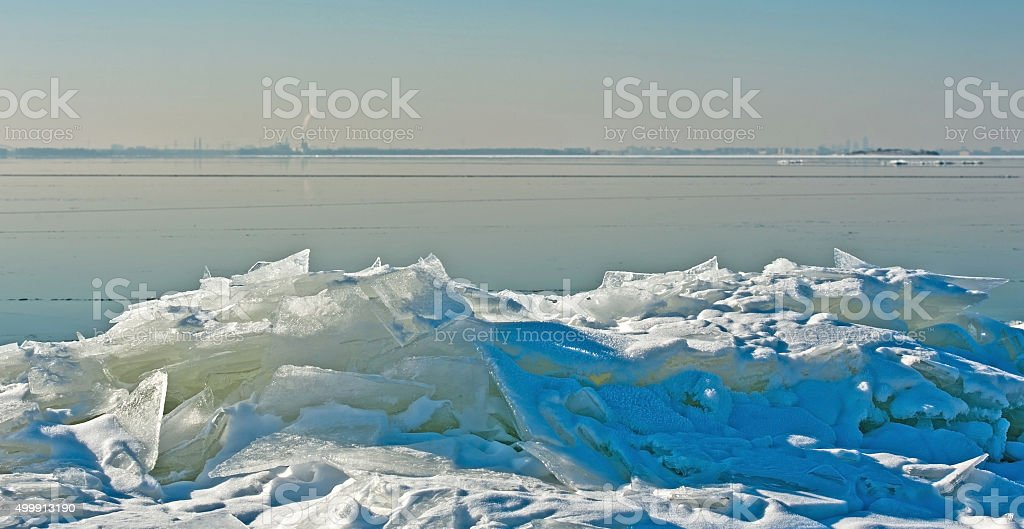 Drifting ice in a lake in winter stock photo