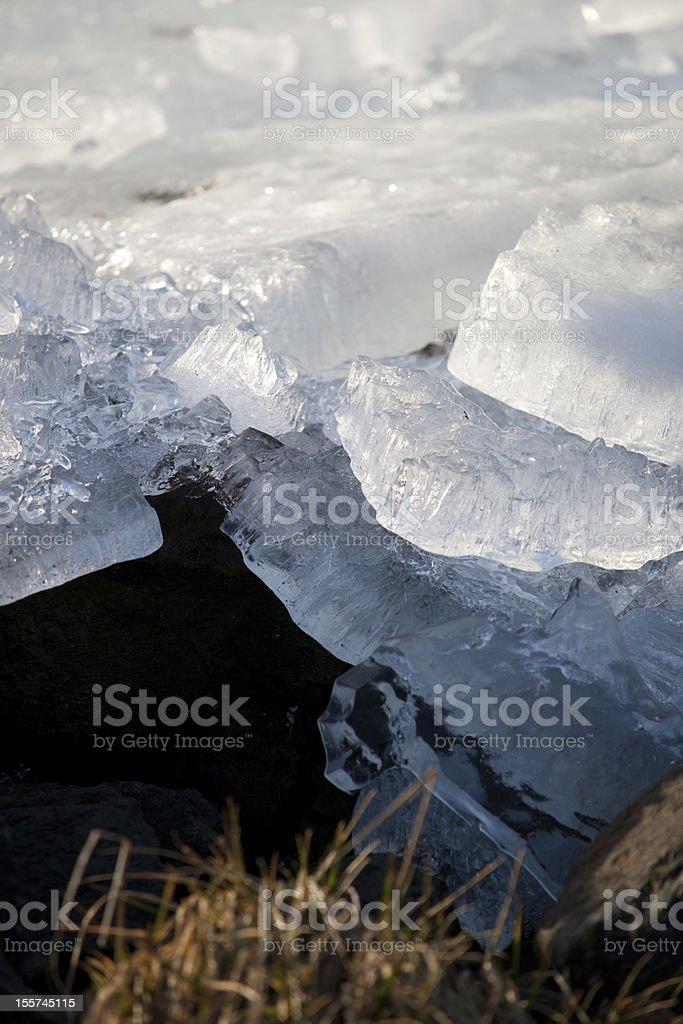 Drifting ice on the island of Marken. stock photo