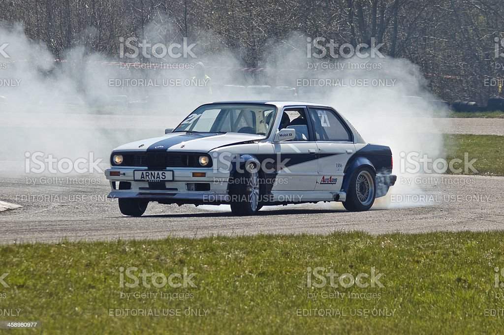 BMW E30 drifting stock photo