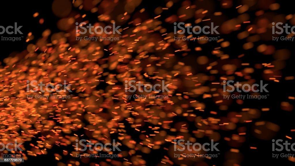 Drifting Sparks on Black Background stock photo