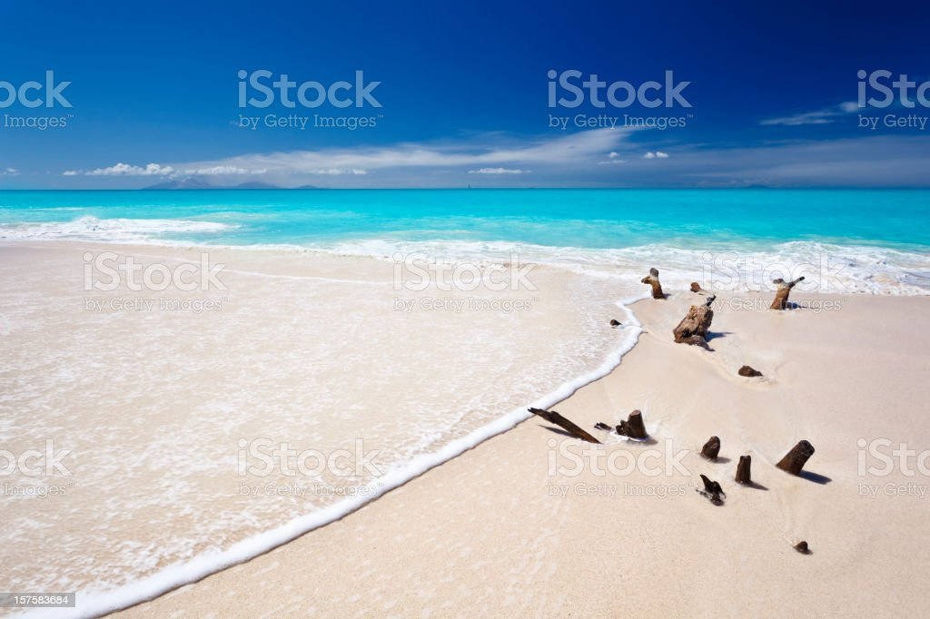 Driftwood And Wave On Perfect White Beach stock photo