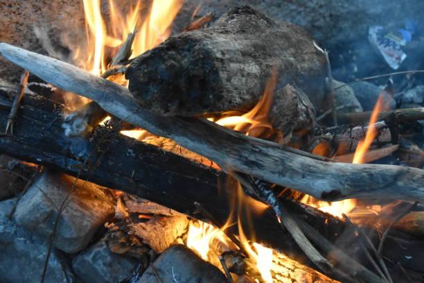 Driftwood Fire stock photo